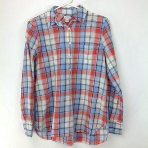 J. Crew Factory Plaid gauze popover shirt